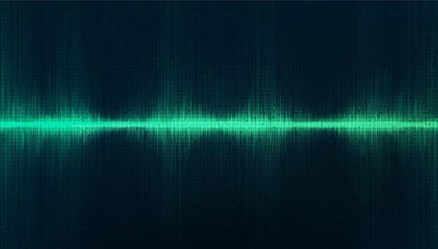 Fondo de onda de sonido digital de estudio verde