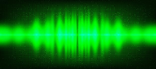 Fondo de onda de sonido digital de luz verde