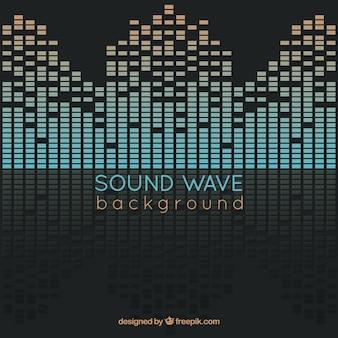 Fondo de onda sonora abstracta con reflejos