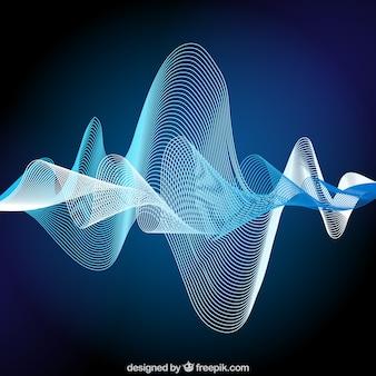 Fondo de onda sonora abstracta en tonos azules