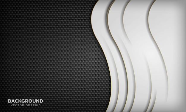 Fondo de onda de superposición abstracta blanca sobre textura geométrica oscura. fondo de lujo moderno.