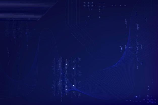 Fondo de ondas futuristas azules con tecnología de código de computadora