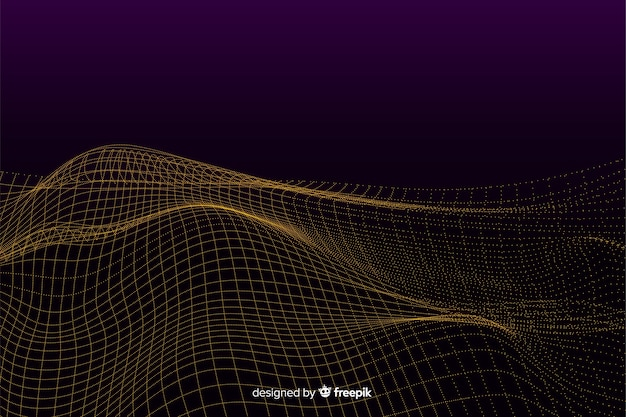 Fondo con ondas de malla digital abstracta