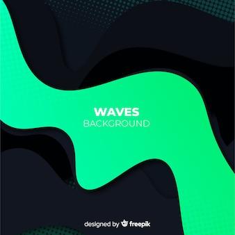 Fondo de ondas negras con efecto halftone