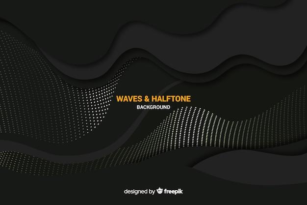 Fondo de ondas negras con efecto punteado