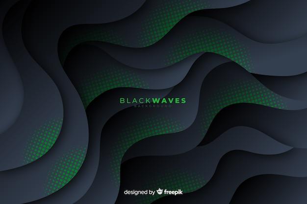 Fondo de ondas oscuras con efecto punteado
