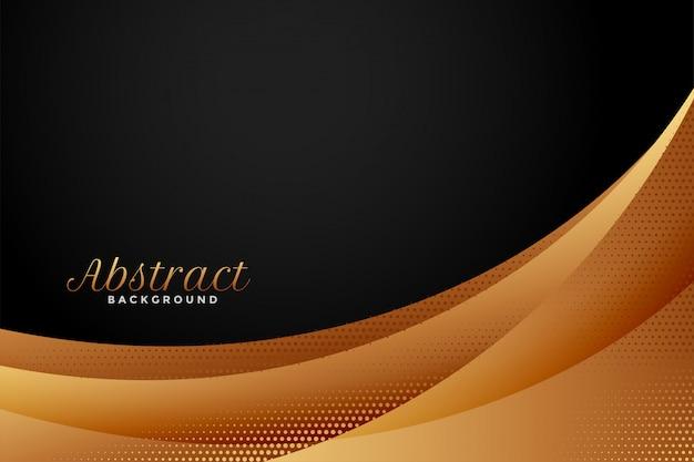 Fondo ondulado abstracto negro y dorado