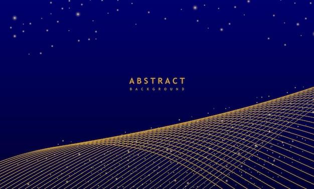 Fondo ondulado azul abstracto con onda de línea dorada