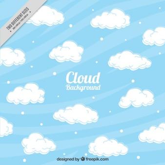 Fondo ondulado con nubes decorativas