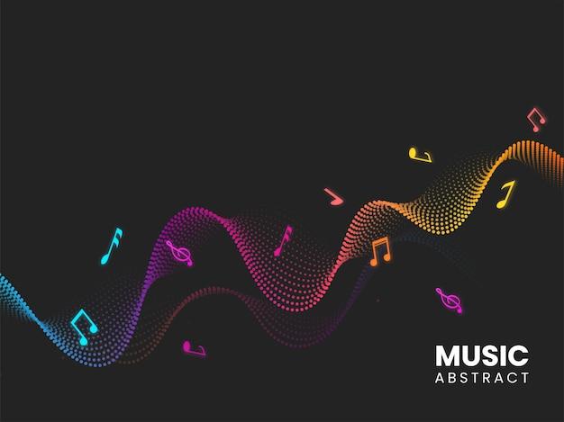 Fondo ondulado punteado degradado abstracto y notas musicales.
