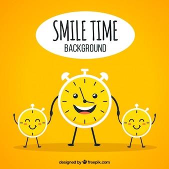 Fondo optimista con relojes sonrientes