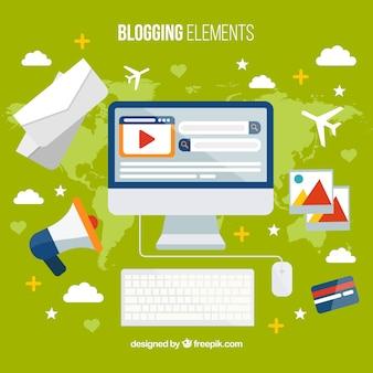 Fondo de ordenador con elementos de blog en diseño plano