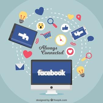 Fondo de ordenador de facebook con iconos y elementos