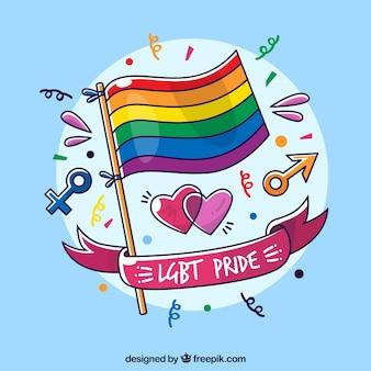 Fondo de orgullo lgbt con bandera