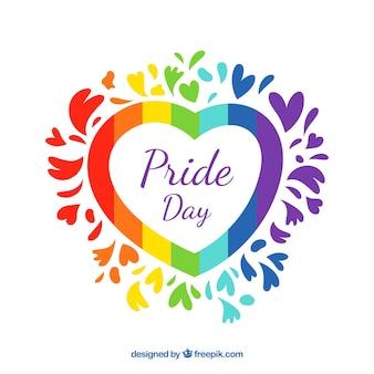 Fondo de orgullo lgbt con corazón colorido