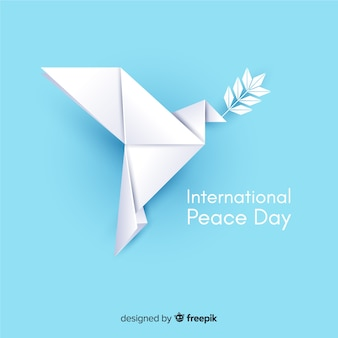Fondo de origami paz día con paloma