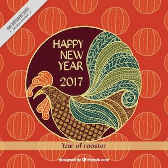 Fondo ornamental del año nuevo chino con gallo dibujado a mano