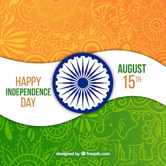 Fondo ornamental de bandera de india