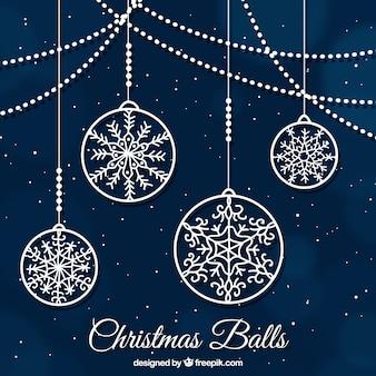 Fondo ornamental de bolas de navidad