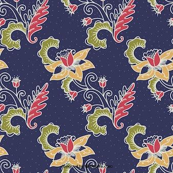 Fondo ornamental de flores batik