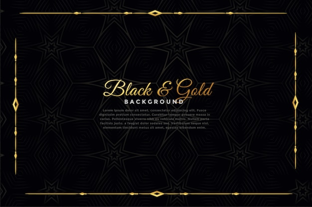 Fondo ornamental de lujo negro y oro