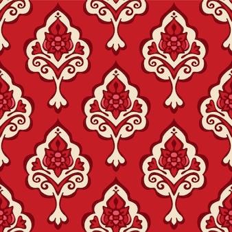 Fondo ornamental rojo. patrón de flores sin fisuras. fondo rojo de navidad.