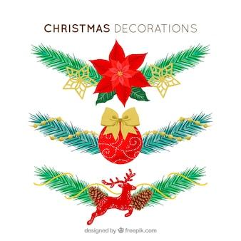 Fondo de ornamentos con elementos de navidad