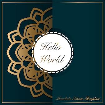 Fondo de oro con adorno abstracto mandala