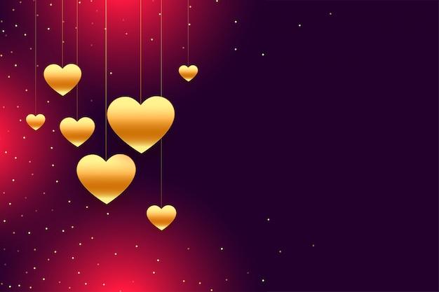 Fondo de oro del día de san valentín de corazones colgantes