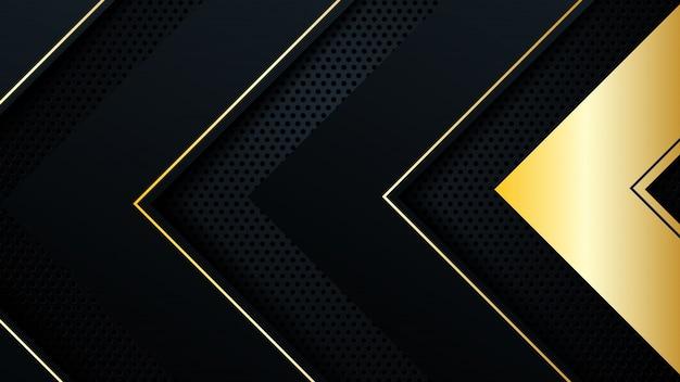 Fondo de oro negro superposición dimensión abstracta geométrica moderna.