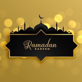 Fondo de oro precioso del saludo de ramadan kareem