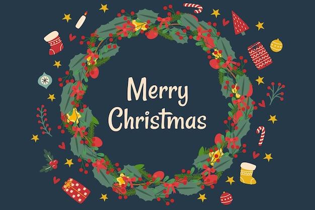 Fondo de oropel de navidad plano dibujado a mano