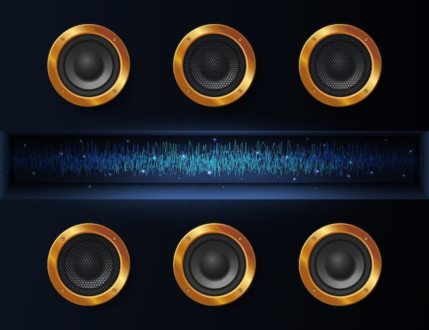 Fondo oscuro abstracto con altavoces de música y un rayo de energía brillante