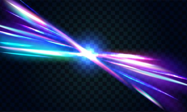 Fondo oscuro abstracto de luz con franjas de rayos coloridos