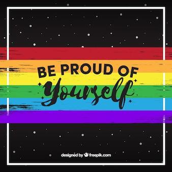 Fondo oscuro de bandera colorida con mensaje del día del orgullo