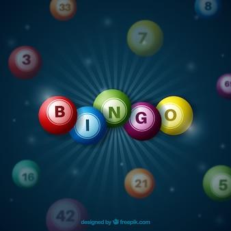 Fondo oscuro con bolas de bingo de colores