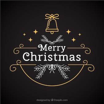 Fondo oscuro con campana y estrellas para navidad