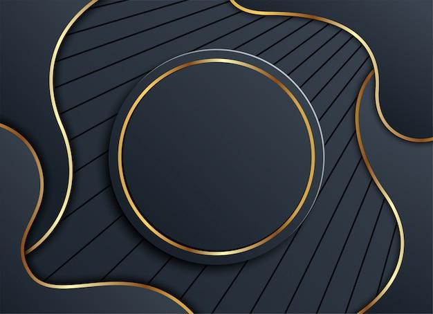 Fondo oscuro con circulo dorado y sombra.