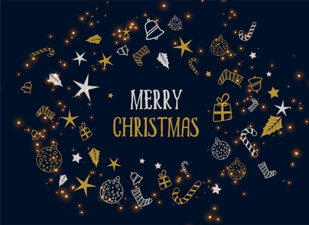 Fondo oscuro de la decoración de la feliz navidad