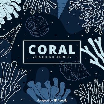 Fondo oscuro dibujado a mano coral
