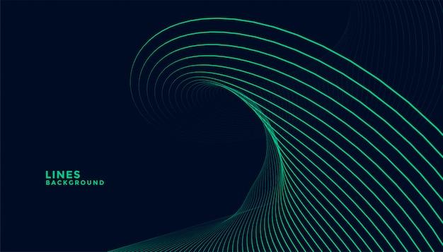 Fondo oscuro con diseño de líneas onduladas turquesas