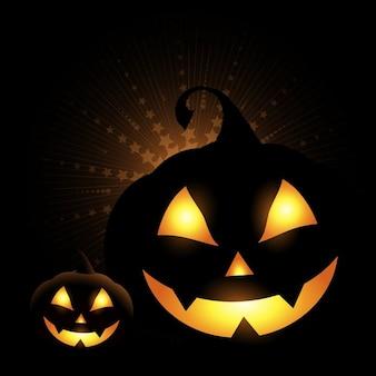 Fondo oscuro con dos calabazas para halloween