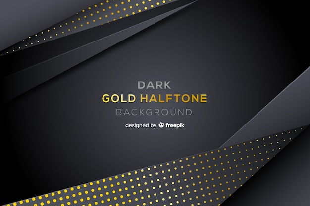 Fondo oscuro con efecto dorado halftone