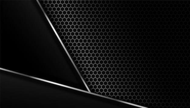 Fondo oscuro de fibra de carbono con líneas de metal.