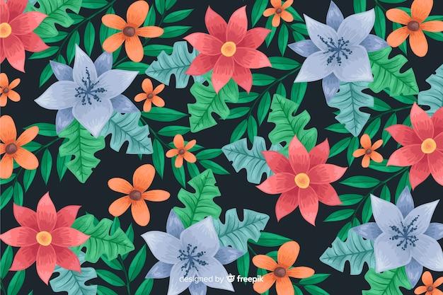 Fondo oscuro y floral dibujado a mano