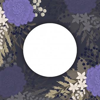 Fondo oscuro de flores - flores azules círculo frontera