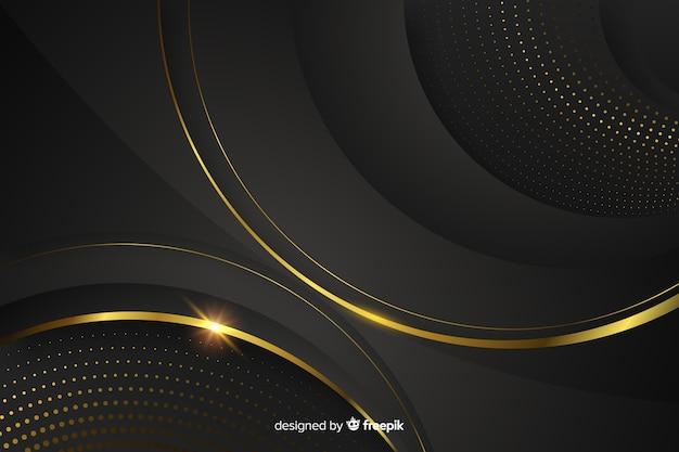 Fondo oscuro con formas abstractas doradas