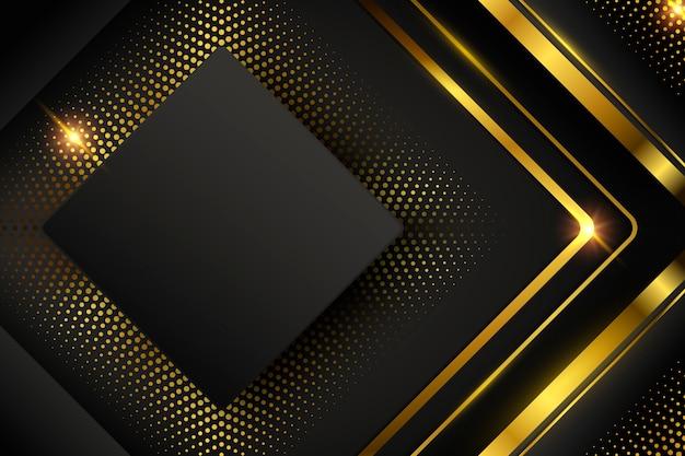 Fondo oscuro con formas y líneas doradas.