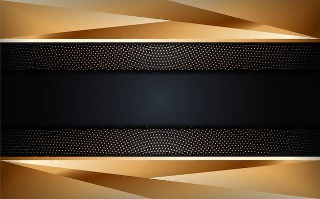 Fondo oscuro de lujo abstracto con combinaciones de líneas doradas. fondo futurista moderno