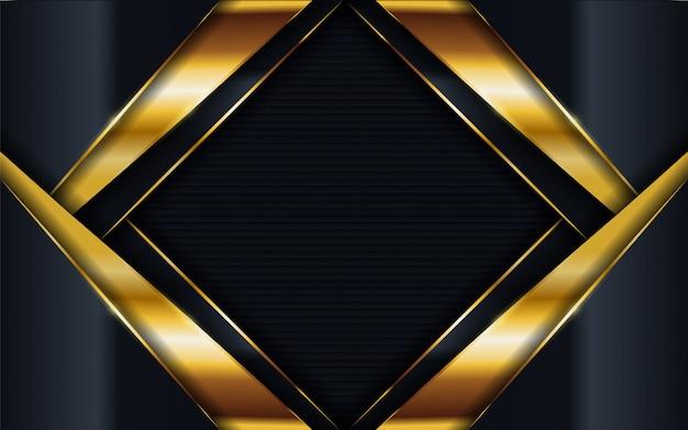 Fondo oscuro de lujo abstracto con combinaciones de líneas doradas.